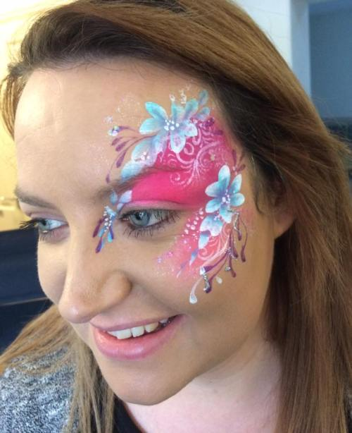 Pink and blue eye design